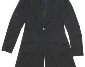 Yohji Yamamoto : black wool and alpaca COAT, size M, vintage 80s