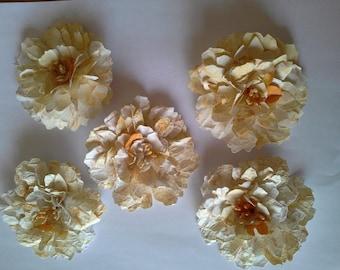handmade 3D layered tattered flowers
