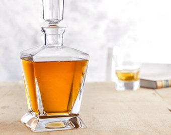 Elegant Whisky Decanter - Angled Side - Whisky Carafe With Stopper - Made From Glass - Gift for Him - Christmas Gift