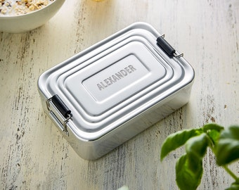 Lunchbox with Name - Aluminum Lunchbox with Personalised Engraving - Christmas Gift