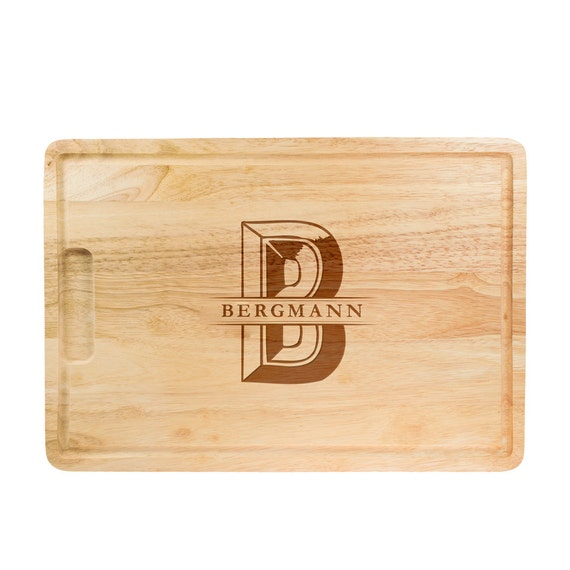 Chopping Board with Engraving - Personalised with Name and Initial - Cutting Board