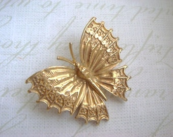 Ornate Gold Tone Butterfly Pin Brooch