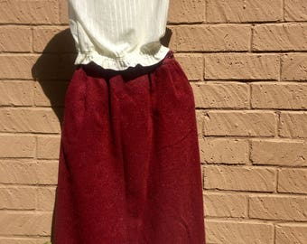 "Retro 70's Vintage Burgandy Tweed High Waist Secretary Skirt Size 27"" Waist"
