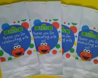 Set of 15 Personalized Sesame Street Elmo Party Favor Bags Goody Bags Treat Bags Popcorn Bags Loot Bags