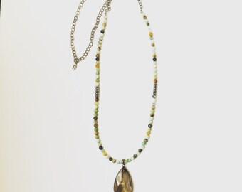 Amazonite with Crystal Teardrop Pendant