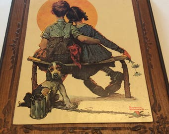 Vintage Norman Rockwell on Wooden Plaque