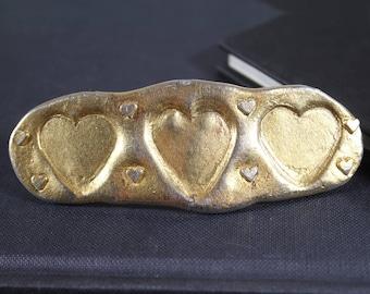 Vintage Gold Hair Pin, Heart Hair Clip, Heart Hair Pin, Heart Gold Hair Clip Wedding, Large Metal Hair Clip, French Hair Clip Vintage Clip