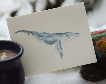 Watercolor humpback whale notecard