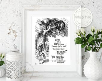 We're All Mad Here, Alice In Wonderland, Cheshire Cat, Literary Book Quote, Lewis Carroll, Printable Wall Art, Digital Print Design, PDF JPG