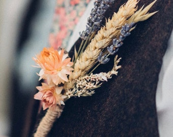 Dried flower buttonholes and lapel corsages