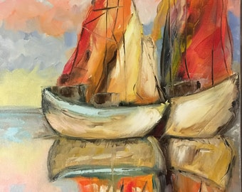 Boats, oil on stretched canvas 16/20 inch