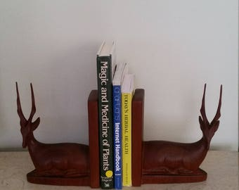 Vintage Hand Carved Wood Antelopes Bookends