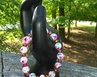 dotted colorful bracelet, summer dotted colorful bracelet , pink dotted colorful bracelet