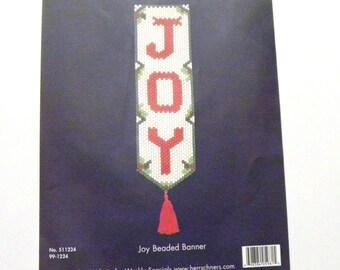 Joy Beaded Banner Kit, Herrschners, Christmas Beaded Banner, DIY Beading Kit, Door Ornament, Home Decor, Wall Hanging
