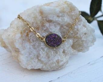 Bracelet sterling silver gold plated with agat druzy