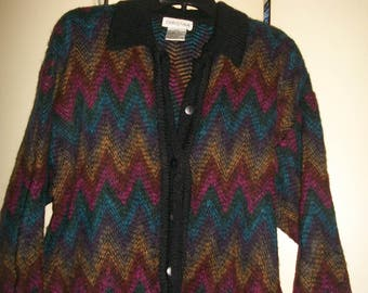 Vintage Multi-Color Wool Blend Cardigan Sweater with Chevron Pattern Size M