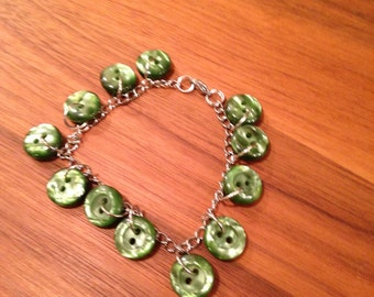 Handmade Bracelet With Vintage Button Charms, Silver Chain, Jewelry