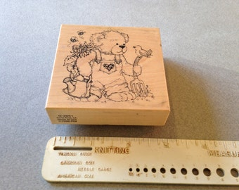 Vintage Rubber Stamp of Teddy Bear, Scrap Booking , Card Making