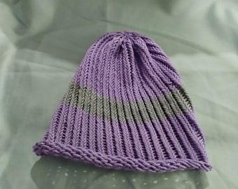 Light Purple Beanie with Gray Stripe