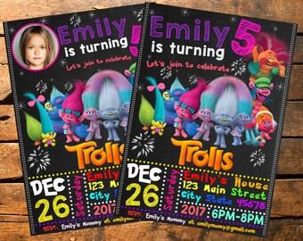 Trolls Invitation, Trolls birthday, Trolls  Birthday Invitation, Troll birthday, Troll Birthday Invites,  Trolls Party Invitation, Troll,