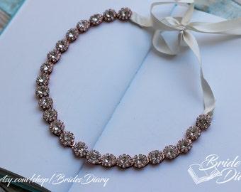 Wedding hair jewelry, bridal wreath, wedding hair vine, bridal rhinestones hairband rose gold