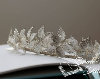 Wedding hair jewelry, bridal hair crown, silvery leaves, silvery bridal crown