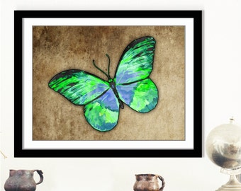 Green Butterfly Art, Butterfly Art Print, Butterfly Artwork, Verde Mariposa Arte, Insect Wall Art, Green Butterfly Decor, 10x8 Butterfly