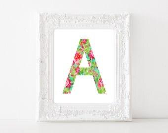 Watercolor Letter A Art- Letter A Artwork, Floral Letter Poster, Flower Letter Art, Printable Letter Art, Letter A download, Instant file