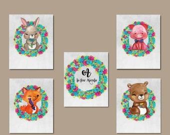 Nursery Art Set - Floral Woodland Animals Art for Children, Pink Nursery Art, Digital Nursery Art, Fox Nursery Art, Pig Nursery Art