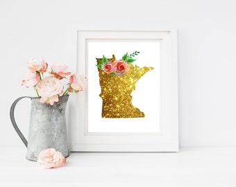 Minnesota gold art, Minnesota state, Minnesota print, MN state art, MN printable, Minnesota 11x14, minnesota artwork, MN poster, instant