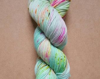 Hand Dyed Neon Speckled Sock Yarn ~ Daydreamer ~ Sockcess ~ Fingering ~ 75/25 superwash merino/ nylon or Sport Weight ~ 80/20