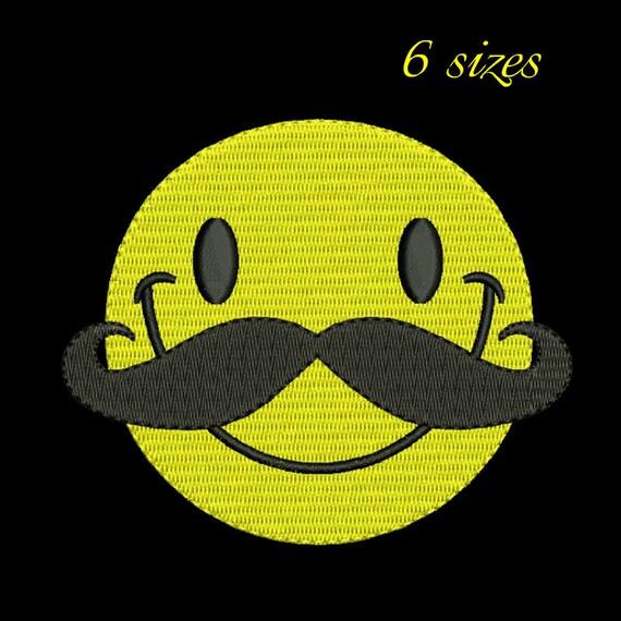 Mustache smiley embroidery designmustache design