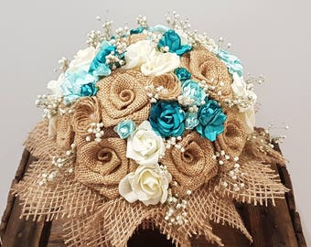 Burlap bouquet, wedding flowers, wedding bouquet, handmade, paper bouquet, bridal flowers, burlap flowers, keepsake, fabric bouquet, anniver