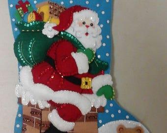 "18"" Felt Christmas Stocking  - Down the Chimney"