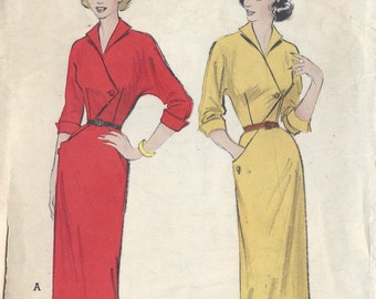 "1950s Vintage Sewing Pattern B34"" DRESS (R148) Butterick 5872"