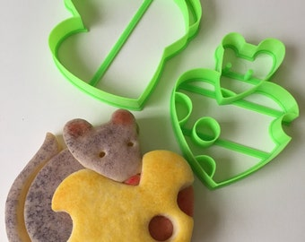 Cute Mouse Heart Cookie Cutter Set