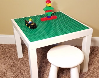Kids Lego Duplo Compatible /Brick Building White Table With 1 Chair.