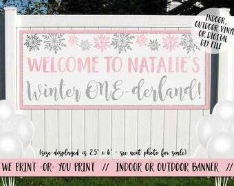 Winter Onederland Vinyl Banner, Winter Onederland Party Banner, Onederland Birthday Banner, Snowflake Banner, Winter Birthday Banner