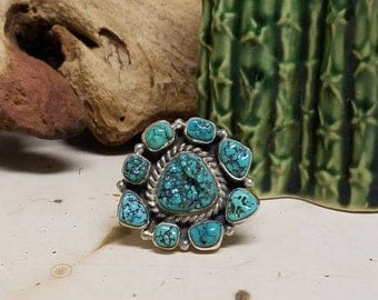 Seafoam turquoise Sterling silver cluster ring