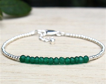 Bracelet 925 solid silver pearls and green onyx gems stones