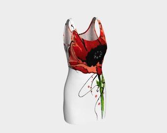 Dress-Poppy Flower Tattoo-Little Black Dress-Form Fitting Dress-Temporary Tattoo