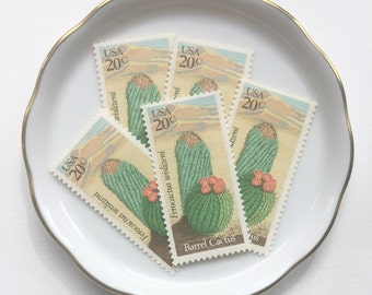 5 Unused Vintage Postage Mail Stamps US // Barrel Cactus, Desert Plants // 1981 // 20 cents