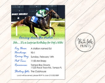Horse Racing Invitation, Coming down the stretch Invitation, Racing Invitation, Invitation Printable, Racetrack Invitation
