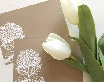 Embossed Note Cards, Hydrangea Flower, Flat Note Cards, Stationery Set