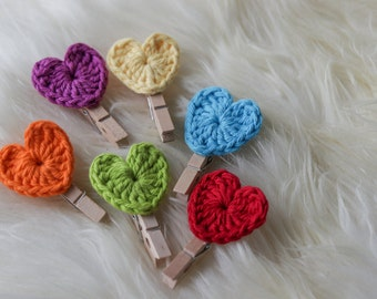 Crochet Hearts of 6 with Wooden Clips