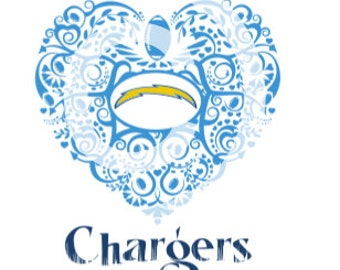 San Diego Chargers Ornate Heart SVG File