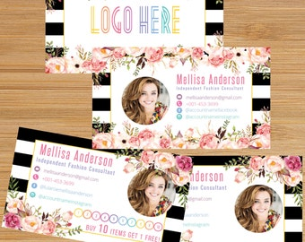 Business Punch Card, Business Card Cards Buy 10 Get 1 Free, Free Leggings Style Marketing Card Digital File LLR016_Photo