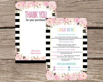 Thank You Card, Personalization, Home Office Approved, Fashion Retailer, Return/Care/Policy, Post Card, Instruction Return Exchange LLR028