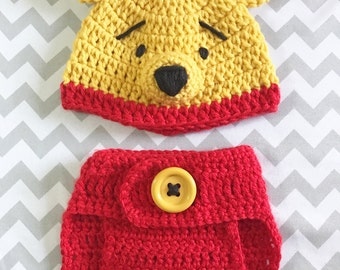Winnie the pooh crochet beanie & diaper cover set , newborn photo props, gift, baby shower, pooh crochet