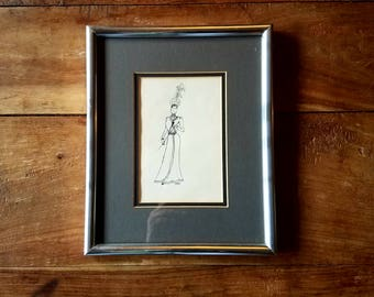 Antique Pen and Ink Drawing of Woman 1900
